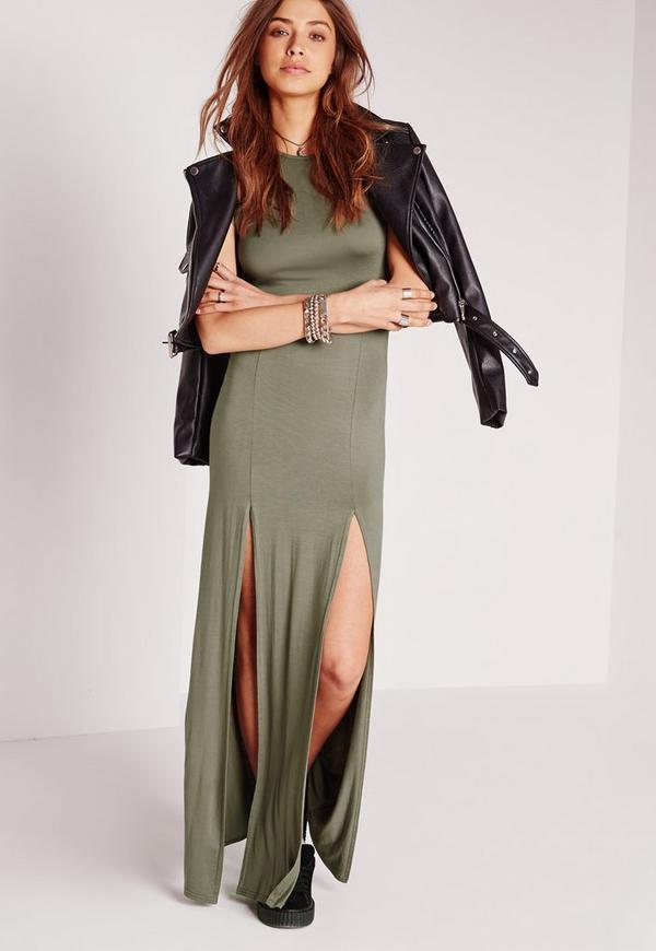 robe longue vert kaki fendue l 39 avant missguided. Black Bedroom Furniture Sets. Home Design Ideas