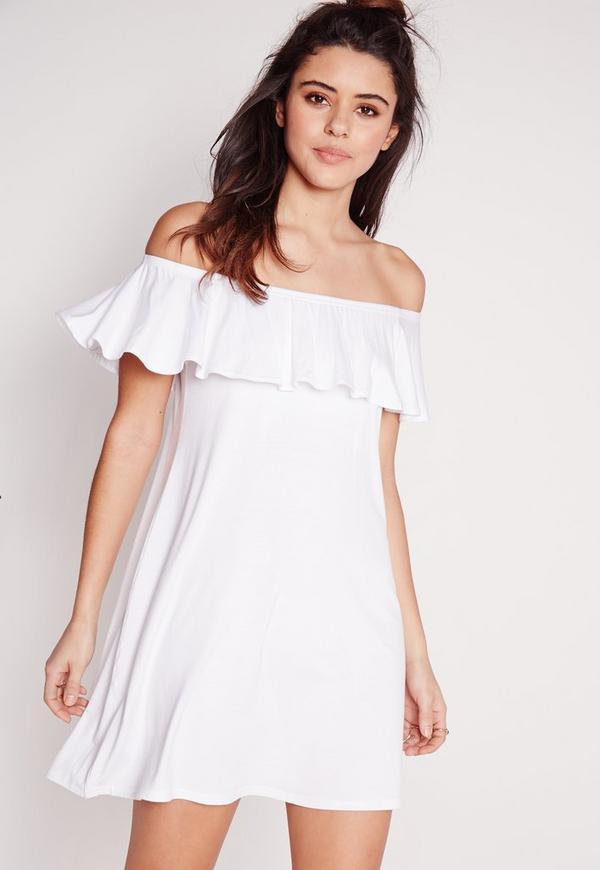 Bardot Jersey Frill Dress White