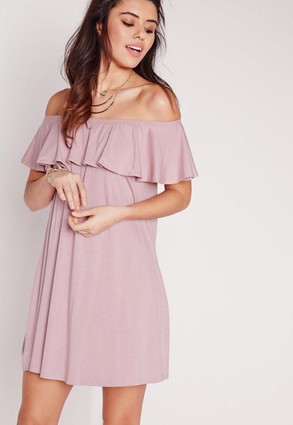 Bardot Frill Jersey Dress Purple
