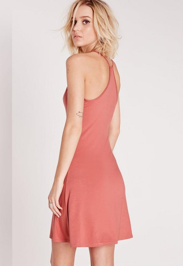 Strappy Back Swing Dress Dark Rose Pink | Missguided