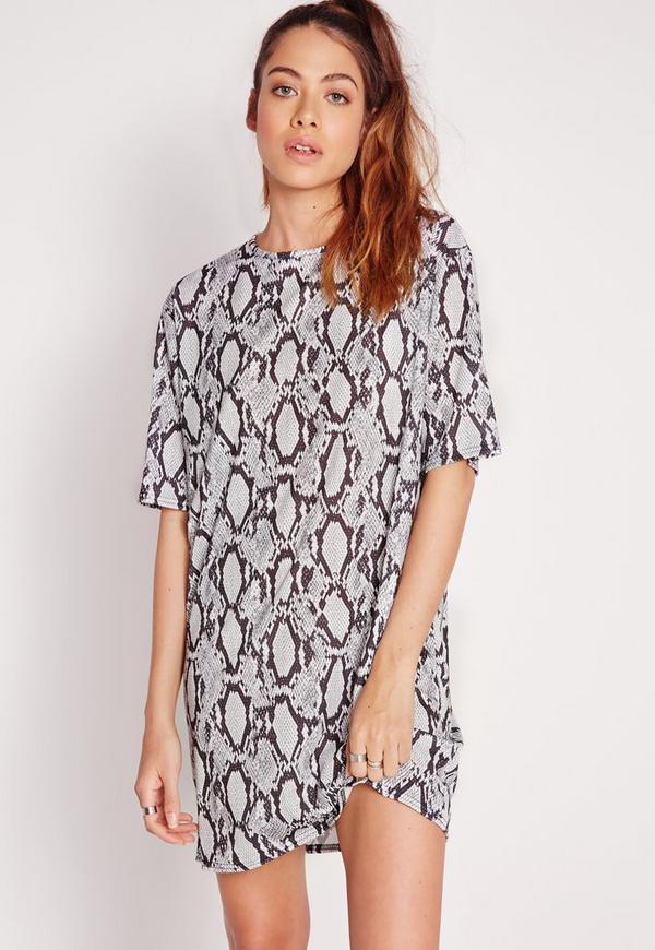 Snake Print T-Shirt Dress Grey