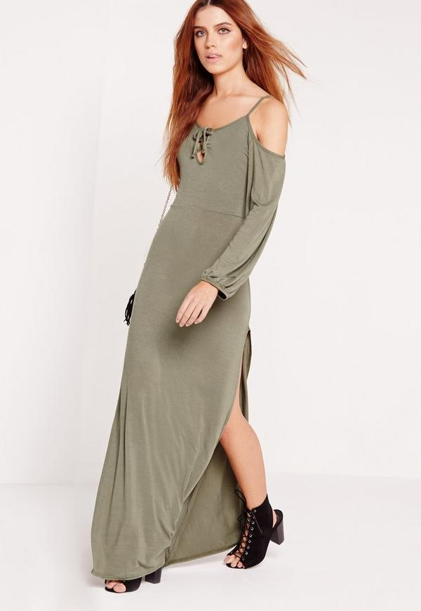 Jersey Cold Shoulder Lace Up Maxi Dress Khaki