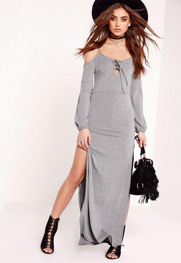 Jersey Cold Shoulder Lace Up Maxi Dress Grey
