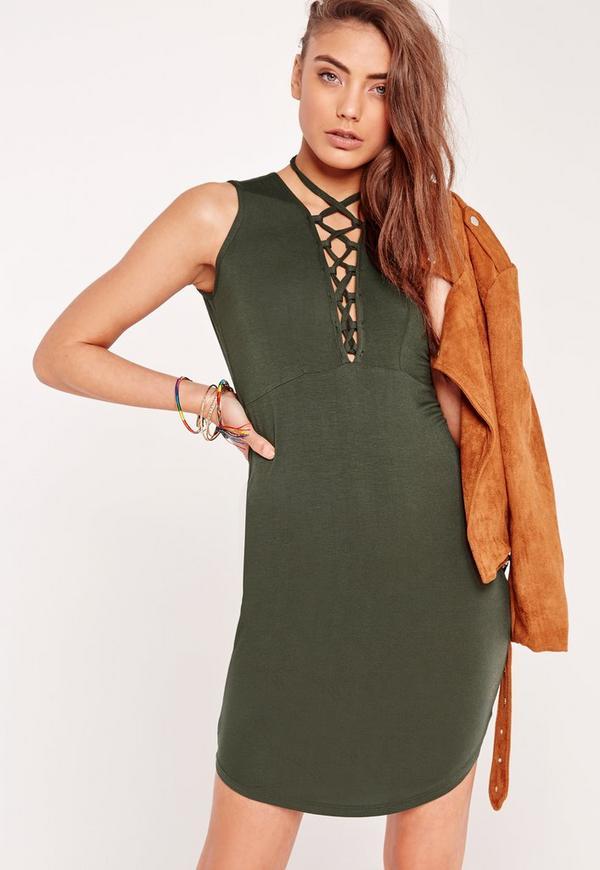 Lace Up Curve Hem Bodycon Dress Khaki