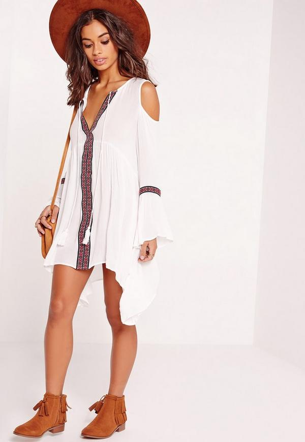 Cold Shoulder Tape Embroidered Swing Dress White