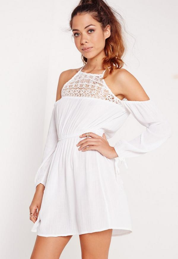 Cold Shoulder Crinkle Crochet Skater Dress White