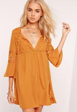 Lace Detail Oversized Smock Dress Yellow