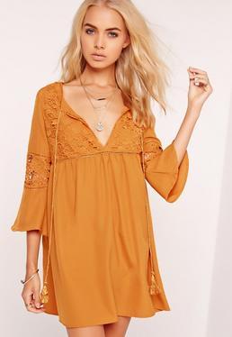 Lace Detail Oversized Smock Dress Yellow