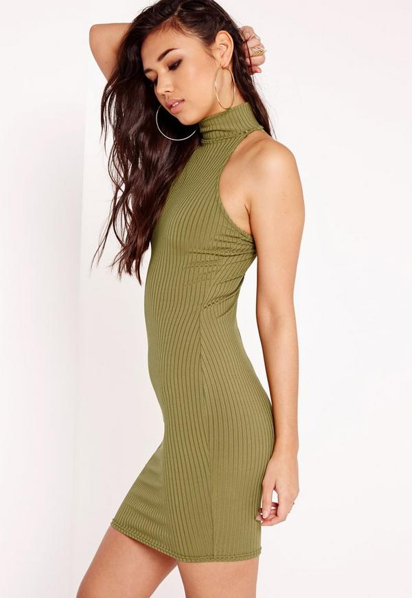 High Neck Ribbed Racer Bodycon Dress Khaki