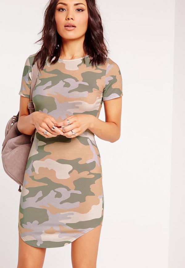Short Sleeve Curve Hem Bodycon Dress Camo Print