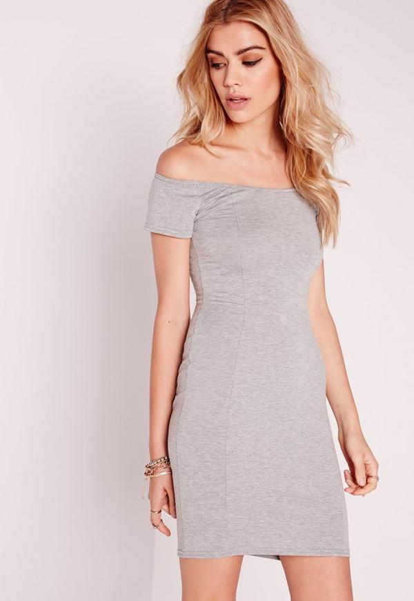 Jersey Bardot Bodycon Dress Grey