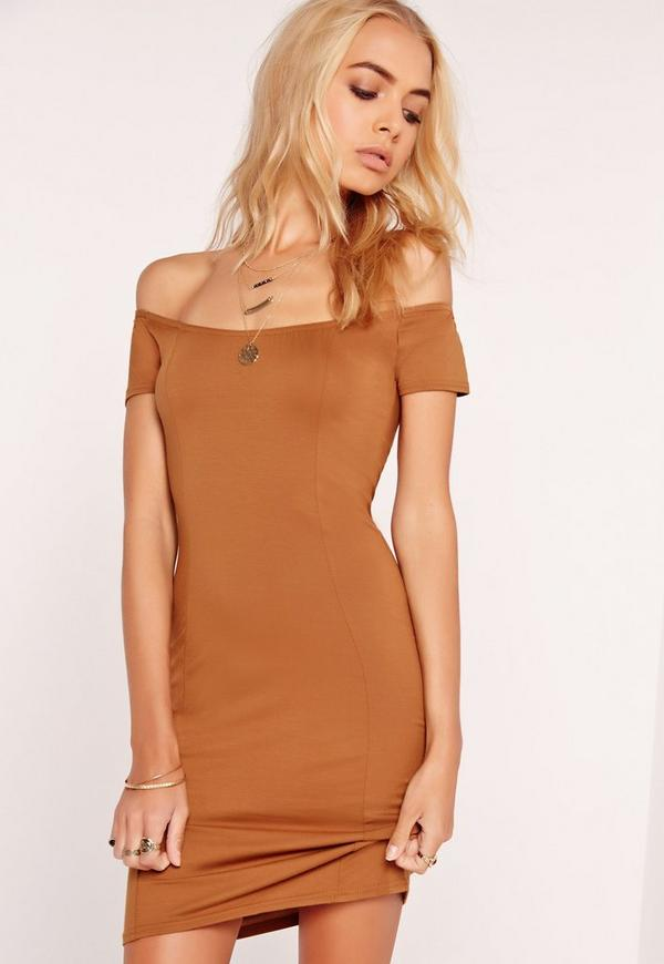 Jersey Bardot Bodycon Dress Tan