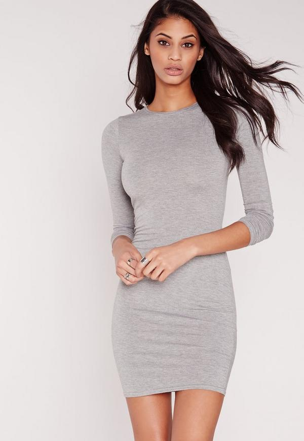 Jersey Bodycon Mini Dress Grey