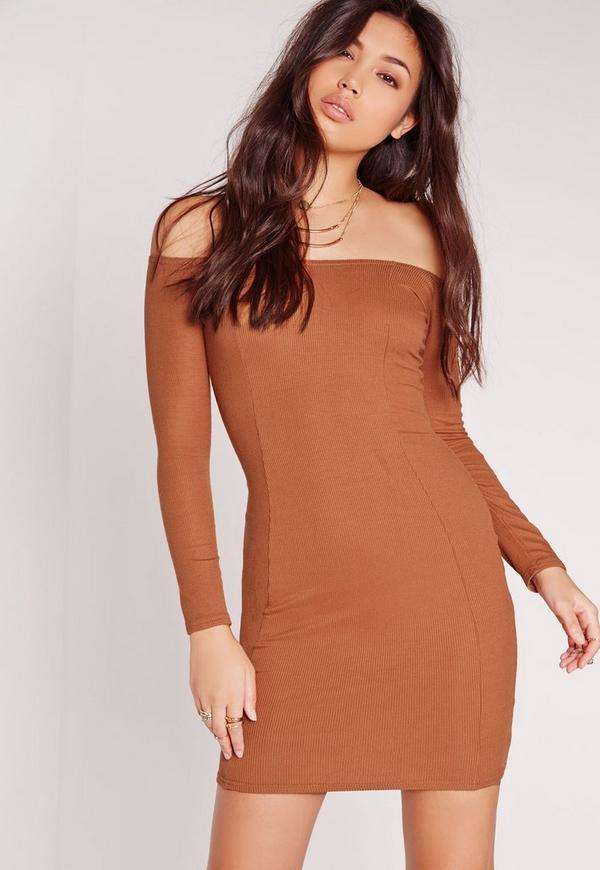 Ribbed Jersey Long Sleeve Bardot Bodycon Dress Tan