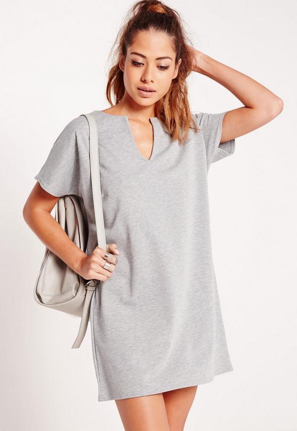 Short Sleeve Plunge Shift Dress Grey
