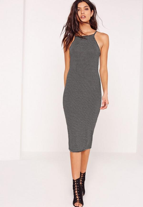 Strappy Stripe Midi Bodycon Dress Black/Grey