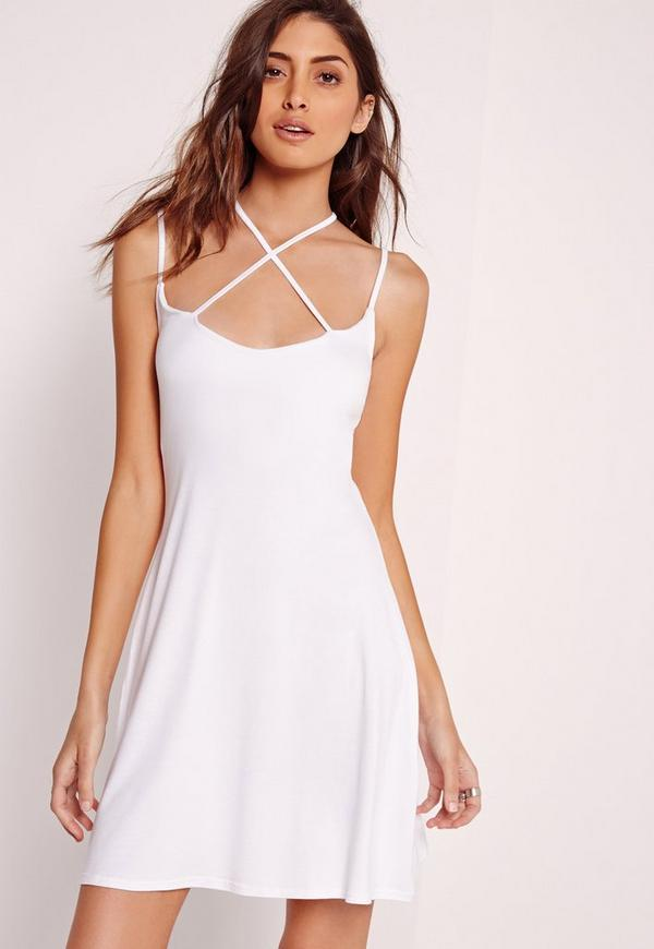 Strappy Swing Dress White
