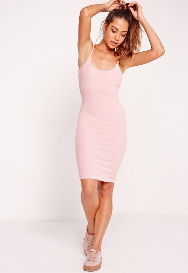 Strappy Rib Bodycon Dress Pink