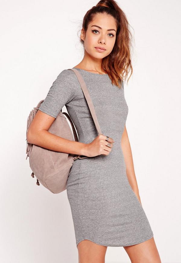 Rib Jersey Curve Hem Bodycon Dress Grey
