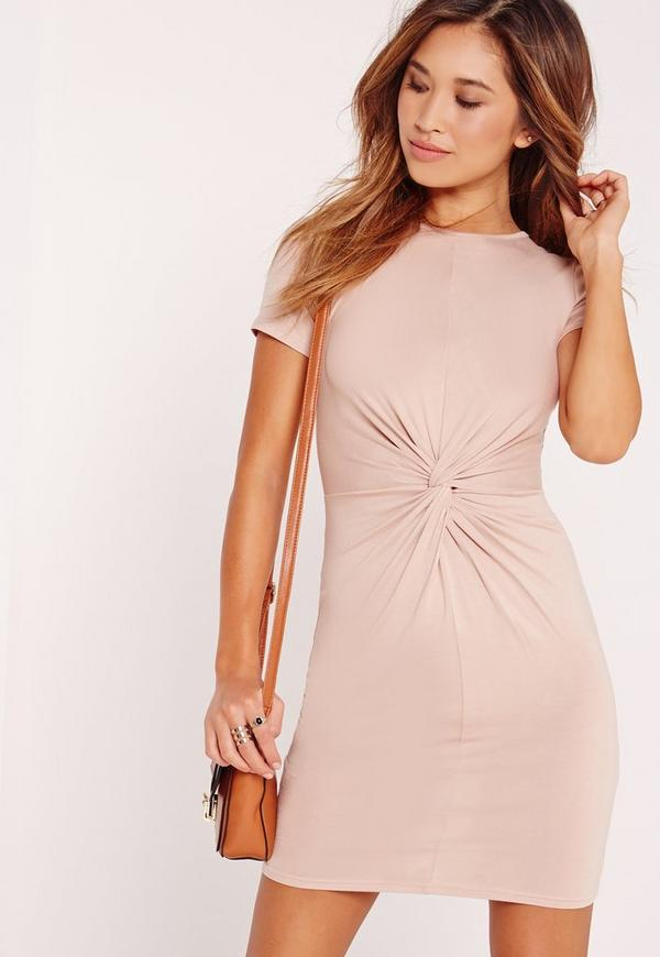 Twist Front Short Sleeve Bodycon Dress Nude