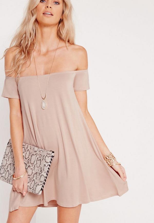 Bardot Short Sleeve Swing Dress Nude