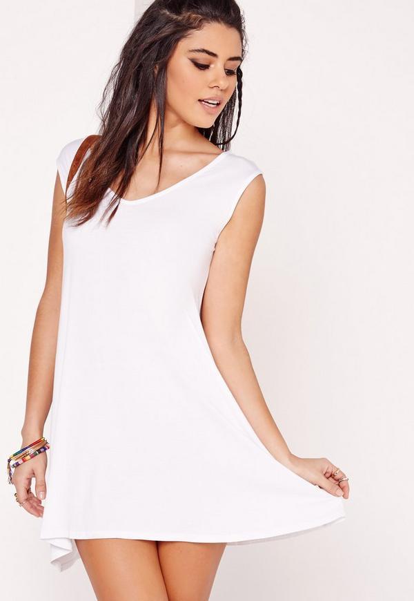 Sleeveless V-Neck Swing Dress White