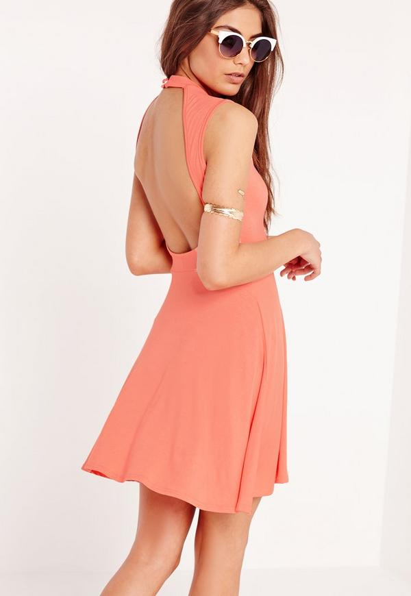 Sleeveless High Neck Cut Out Back Skater Dress Orange