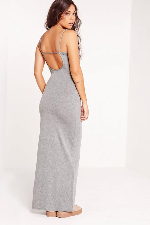 Back Strap Jersey Maxi Dress Grey