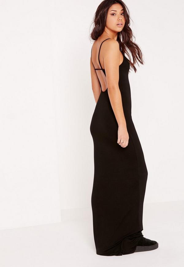 Back Strap Jersey Maxi Dress Black