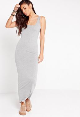 Vestido largo de tirantes en gris