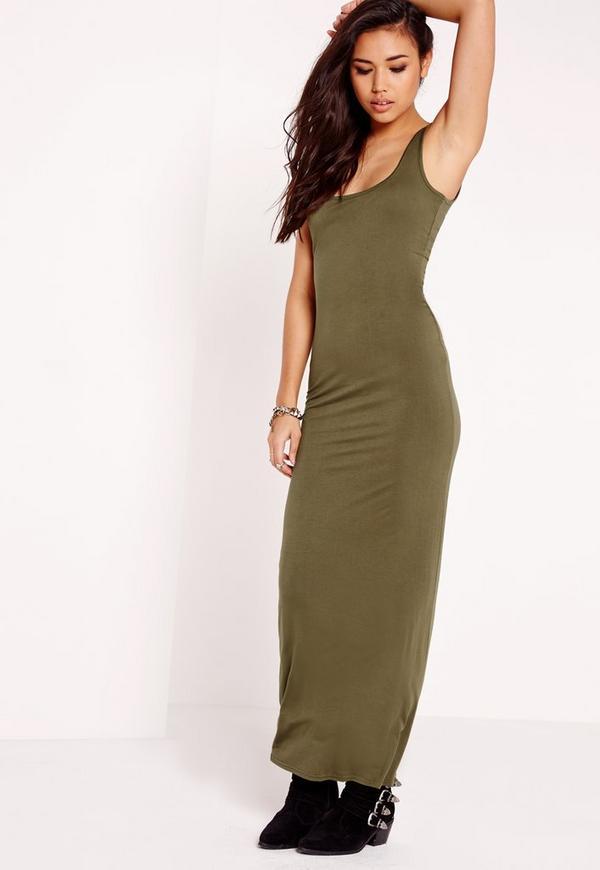 Sleeveless Maxi Dress Khaki
