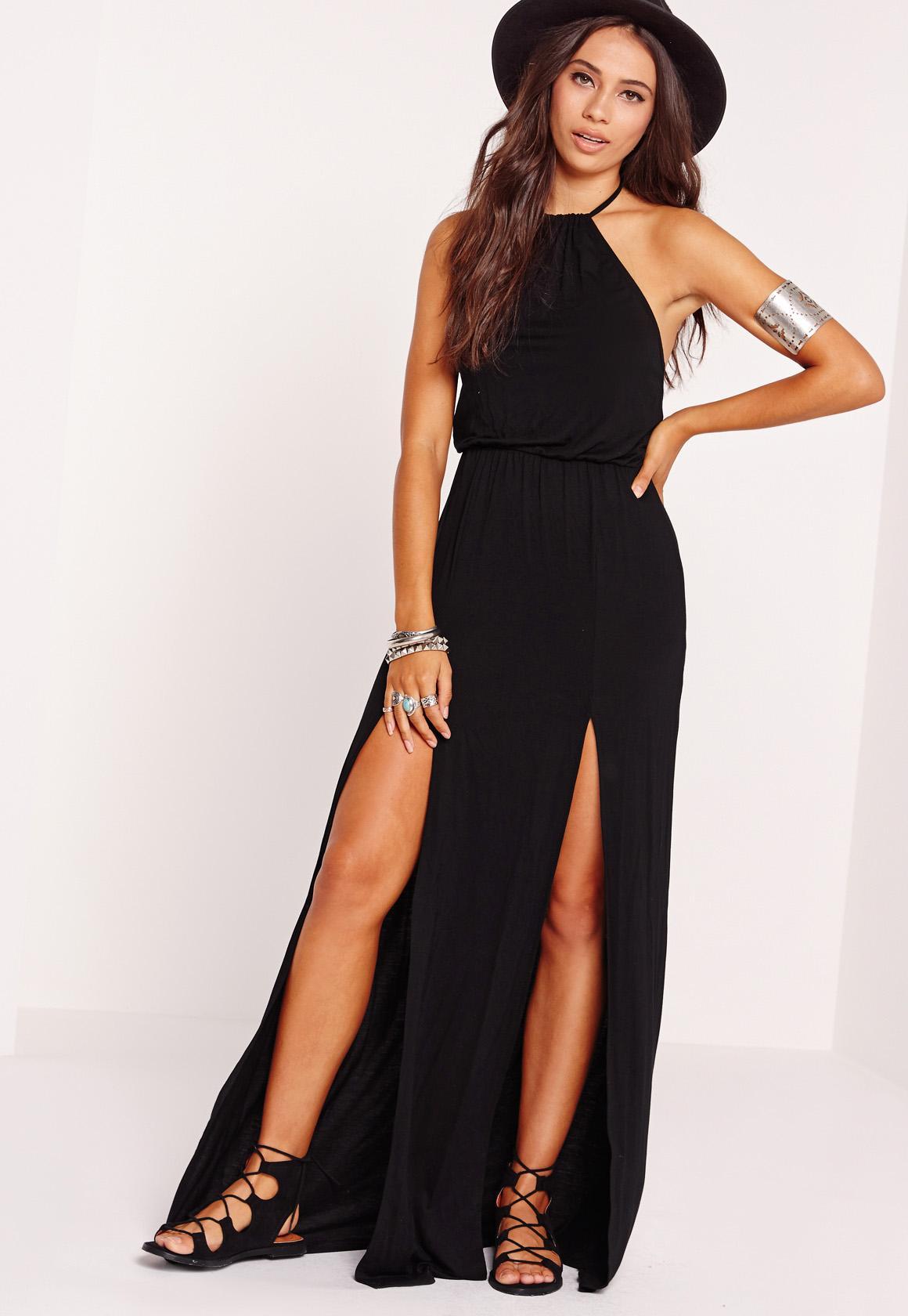 Maxi dress halter slit
