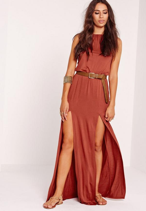 Halter Neck Split Front Maxi Dress Rust