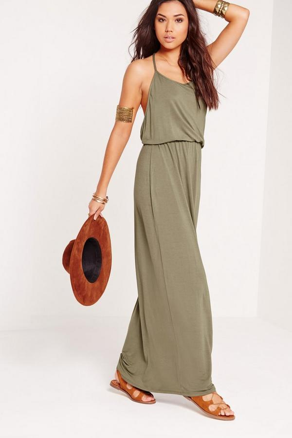 Racer Back Maxi Dress Khaki