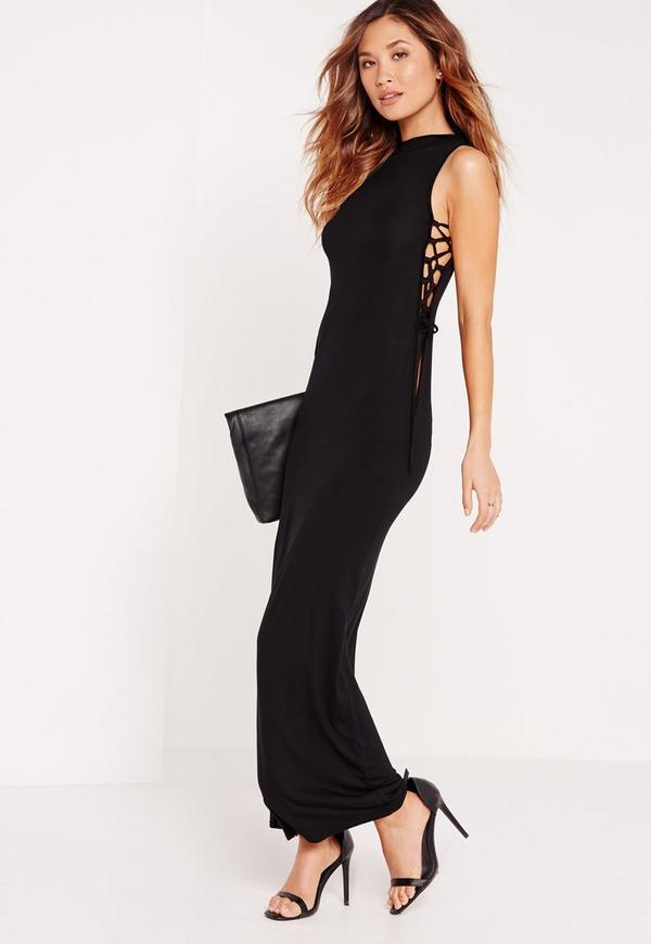 High Neck Tie Side Maxi Dress Black