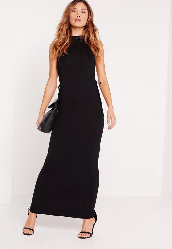 High neck black maxi dress