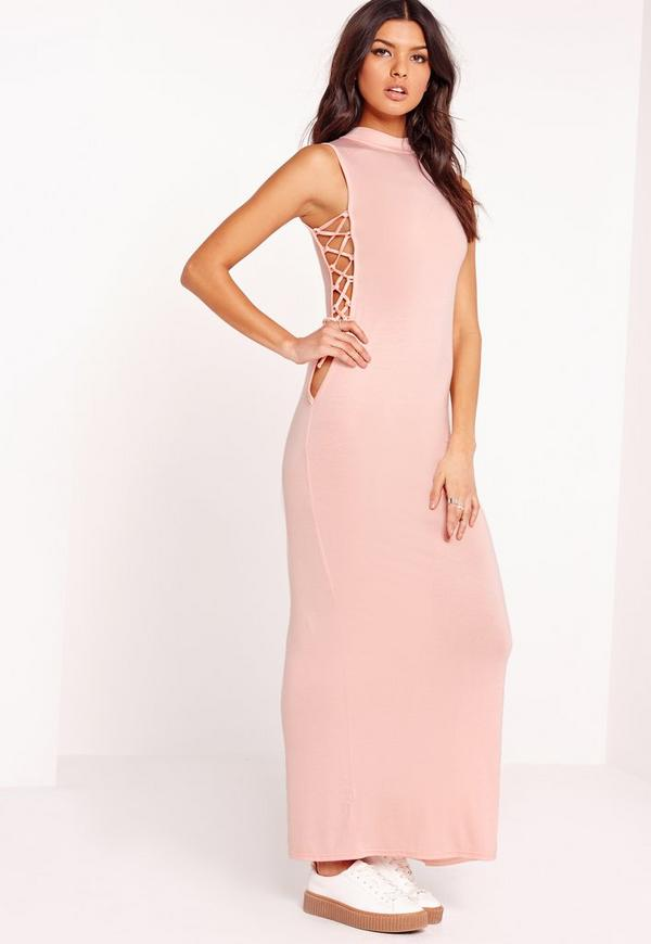 High Neck Tie Side Maxi Dress Nude
