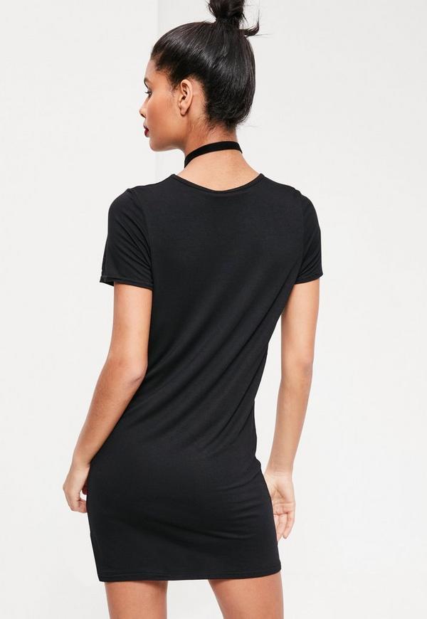Short Sleeve T-Shirt Dress Black - Missguided