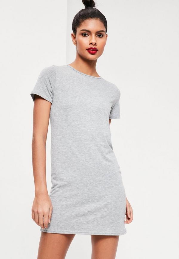 Short Sleeve T-Shirt Dress Grey