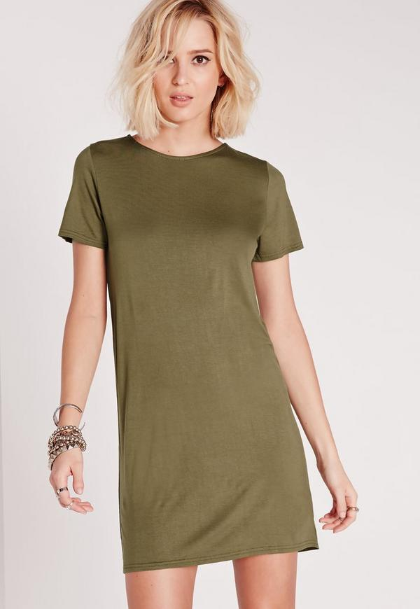 Short Sleeve T-Shirt Dress Khaki