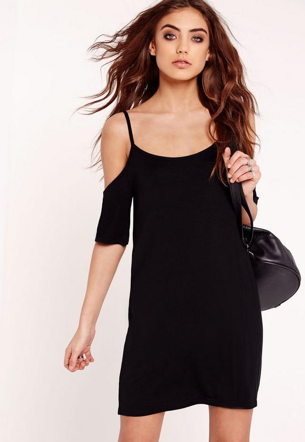 Cold Shoulder T-Shirt Dress Black