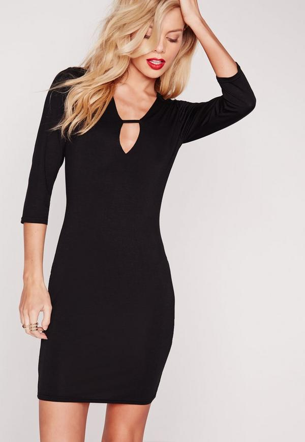 Plunge Strap T-Shirt Dress Black