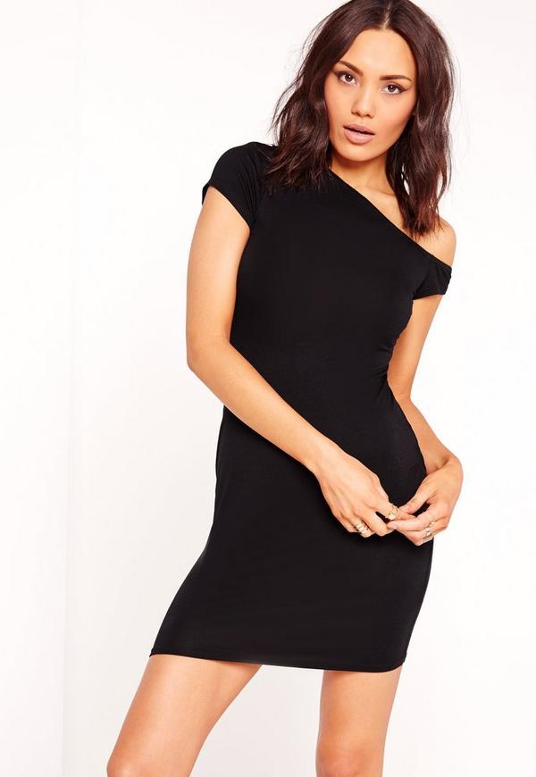 Slouch Off Shoulder T-Shirt Dress Black