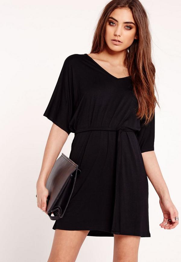 Belted Kimono Dress Black