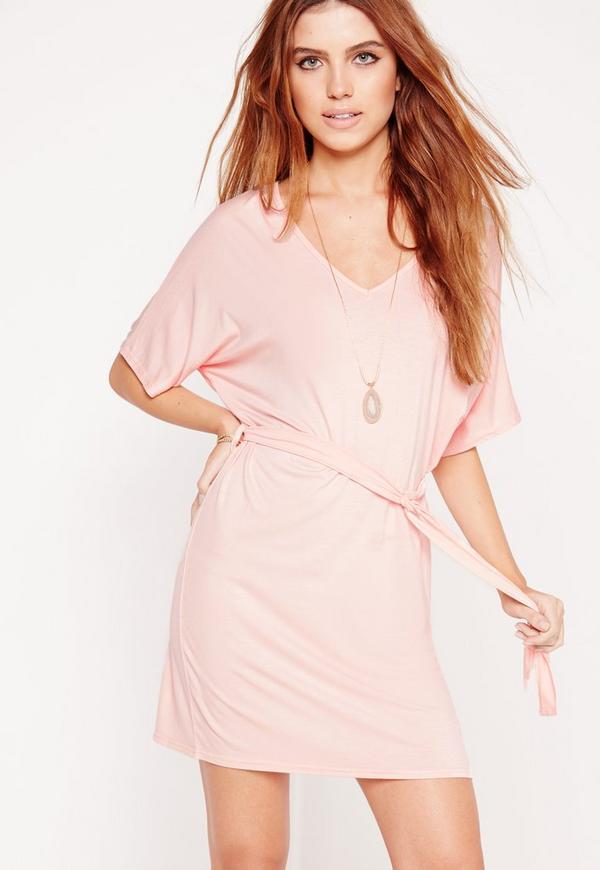 Belted Kimono Dress Pink