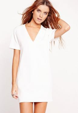 Plunge Scuba T-Shirt Dress White