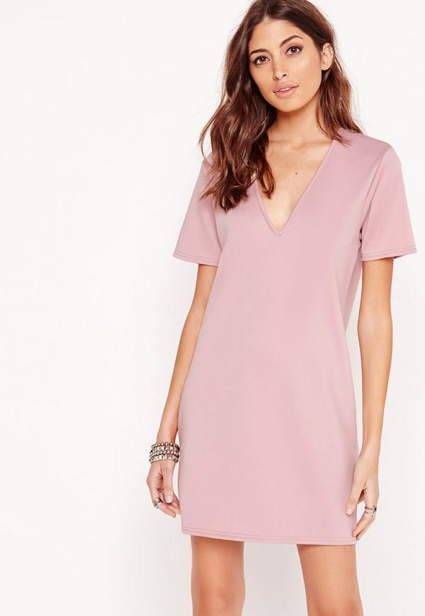 Plunge Curve Hem Scuba T-Shirt Dress Lilac