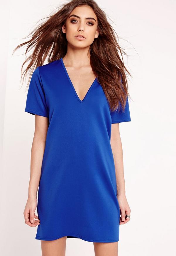 Plunge Scuba T-Shirt Dress Blue