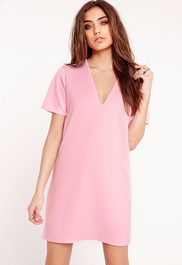 Plunge Scuba T-Shirt Dress Pink