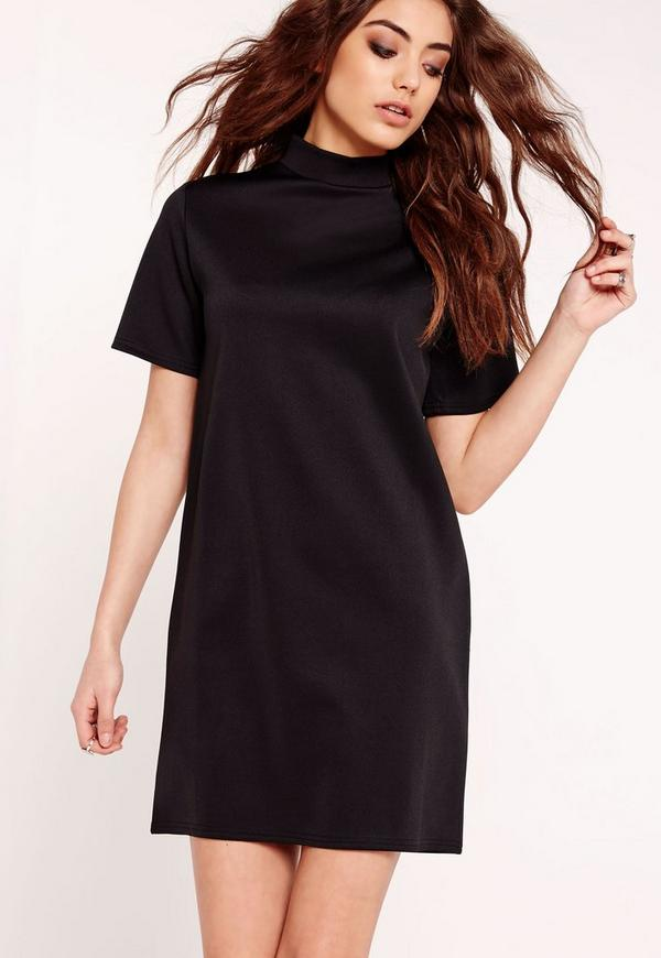 High Neck Boxy Scuba Shift Dress Black